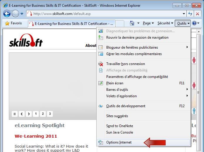 Support la client le skillsoft for Fenetre qui s ouvre en haut