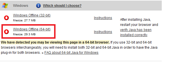 java 64 bit windows 7 download chrome